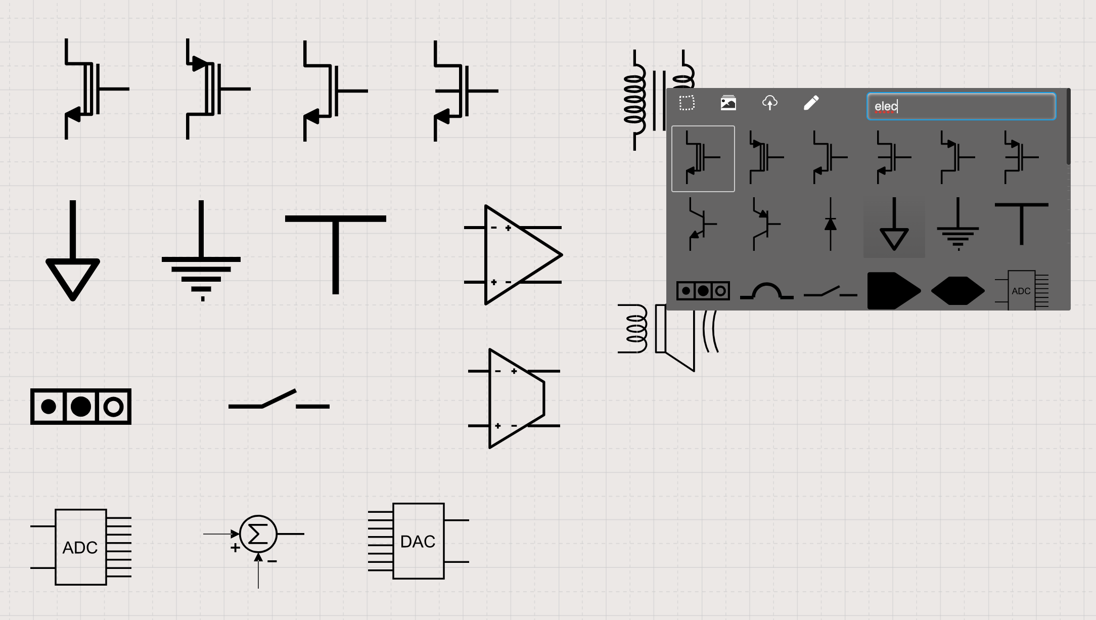Electronic symbols in Sketchboard