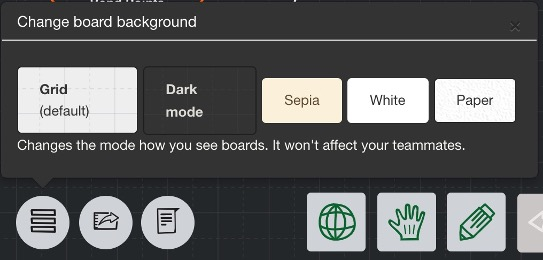 Menu to change background modes on Sketchboard