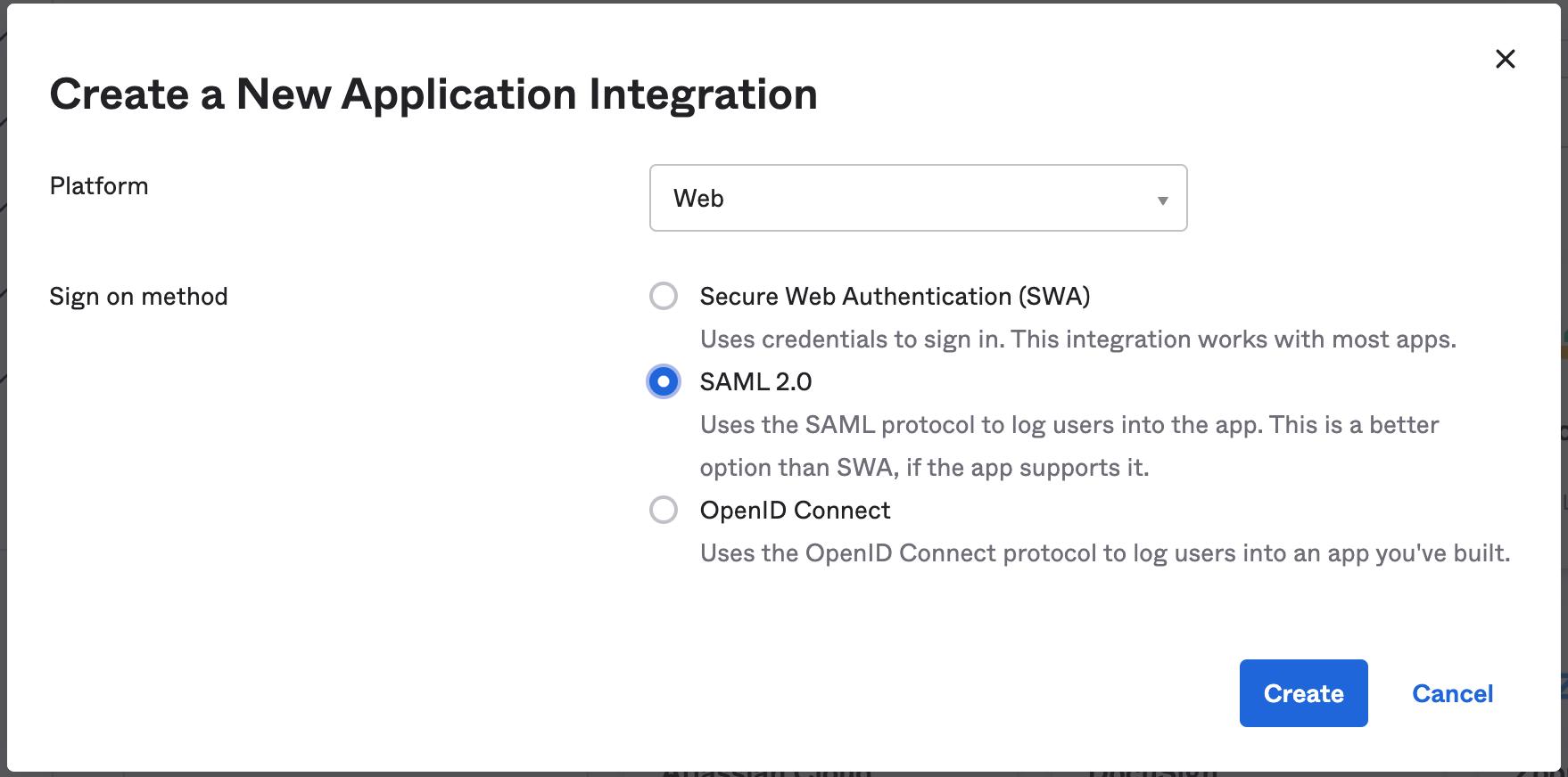Create new Okta SSO SAML application integration