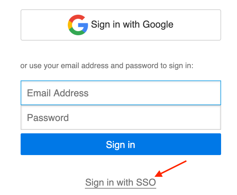 Sign in with SSO link
